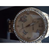 Relógio Feminino Rose Linda Moldura Visor Dourado