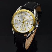 Relógio Jaragar Importado Automático Pulseira Em Couro