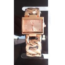Relógio Feminino Retangular Pulseira E Visor Rosê