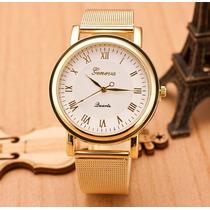 Relogio Geneva Dourado Luxo Exclusivo Elegante - Importado