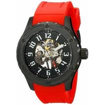 Relógio Invicta Pulseira Borracha Vermelho Original Completo