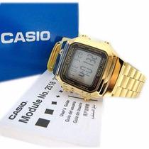 Relogio Original Casio A178 Retrô Dourado A178wga 1adf Gold
