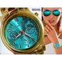Relógio Michael Kors Mk8315 Dourado Turquesa Gratis Oculos