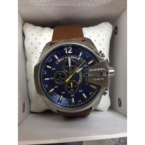 Relógio Diesel Azul Prata Puls Couro Garantia Sedex Gratis