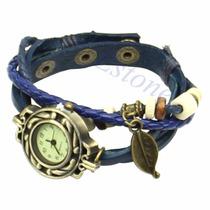 Relógio Feminino Vintage Retrô Pingente Pulseira Couro