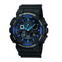 Relógio Casio G-shock Ga-100 Detalhes Azuis 20 Atm Hora Mund