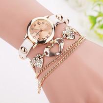 Relógio Bracelete Feminino Com Correntinha Acoplada