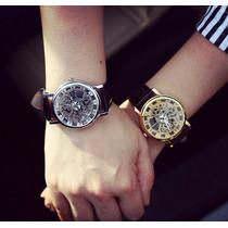 Relógio Quartz Unissex Social Gold Esqueleto Kit Com 2 Unds