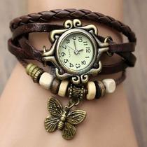 Relógio Pingente Feminino Vintage Pulseira Em Couro