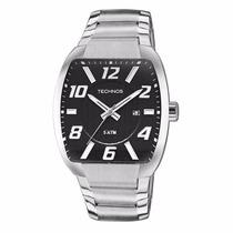 Relógio Technos Prata Masculino 2115klk/1p Fundo Preto