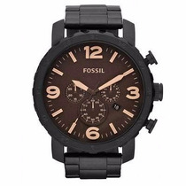 Relógio Fossil Fjr1356/z Preto Pulseira Aço Cronógrafo Nfe