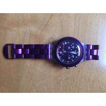 Relógio Swatch Original Pulseira Roxa Super Novo Na Caixa