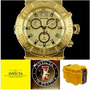 Lindo Invicta Reserve 19600 Máquina Swiss Banhado Ouro 18k