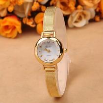 Relógio Analógico Dourado Feminino Quartz Novo Frete Grátis