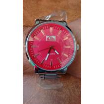 Relógio Quikisilver Com Fundo Vermelho Pulseira De Aço