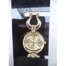 Relógio Feminino.pulseira.de Metal Dourada. C/ Strass.