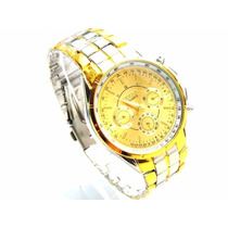 Relógio De Pulso Masculino Rosra Pulseira Aço Inox Dourado