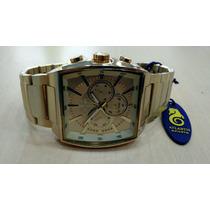 Relógio Original Atlantis Quadrado Em Aço Dourado 3350