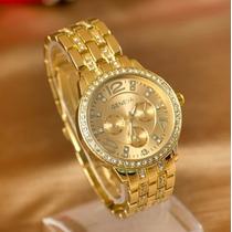 Relógio Feminino Dourado Strass Aço Inox Geneva