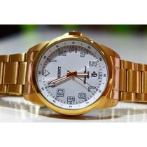 Relógio Dourado Orient Masculino Calendário 50m Mgss1103a