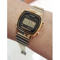 Relógio Feminino Casio Pequeno Dourado E Preto Retrô Digital