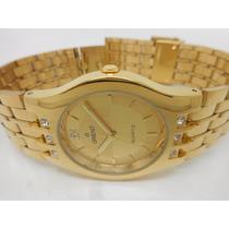 Relógio De Pulso Orient Quartz Folheado A Ouro Golden