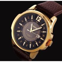 Relógio Curren Masculino Dourado Grande Pulseira Em Couro
