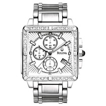 Relógio De Luxo Bulova 96e104 Chronograph Anal 24 Diamantes!