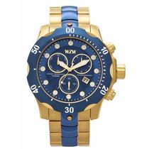 Relógio Dourado Com Azul Wzw Extra Grande Masculino 7240 Top