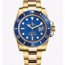 Relógio Submariner Dourado Azul Perpetual Pronta Entrega!!!