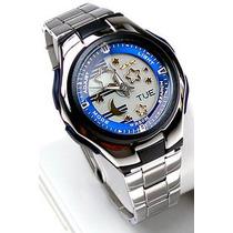 Relógio Casio Lcf 10 Analogico Digital 50m 5alar Azul Lcf10