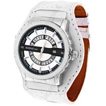 Relógio Unissex Fashion. Bracelete De Couro. + Super Brinde