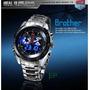 Relógio Tvg Sport Led Azul Aço Inox Prova Dagua - Original