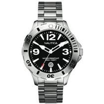 Relógio Nautica A14544g Mens Bfd 101 Black Silver Watch