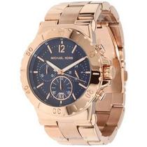 Relógio Michael Kors Mk5410 Rose Fundo Azul Caixa E Manual.