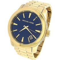 Relogio Michael Kors Mk7049 Gold & Azul Oversized Grande