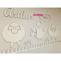 Painel De Parede Mdf Branco Ovelhas Quarto Do Bebê