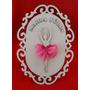 Placa Maternidade Bailarina - Mdf Branco E Saia De Vual Rosa