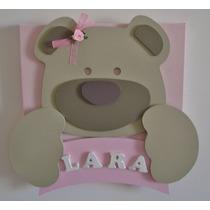 Porta Maternidade Ursinho Nome Quadro Bebê Menino Menina