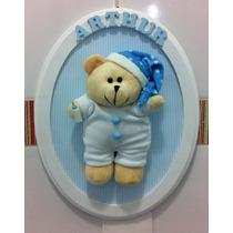 Quadro Porta Maternidade Enfeite Urso Dorminhoco Pijama