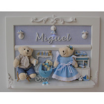 Urso Familia Porta Maternidade Luz Led Bebê Quadro Ursinhos