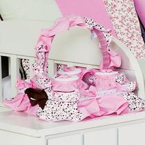 Cesta 3 Potes Para Quarto De Bebê Menina Coleção Ursa Teca