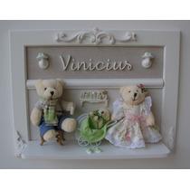 Porta Maternidade Família Urso Bebê Menino Menina Quadro