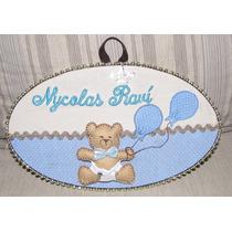 Enfeite Porta Maternidade Quadro Oval Urso Personalizado