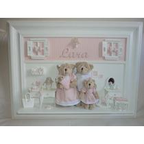 Quadro Porta Maternidade Família Urso
