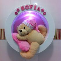 Enfeite Porta Led Maternidade Nicho Redondo Urso Dorminhoco