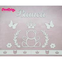 Painel De Parede Mdf Branco Ursa Princesa Quarto Do Bebê