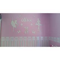 Painel De Parede Mdf Branco Bailarinas Decoração Quarto Bebê