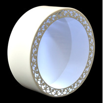 2 Nicho Redondo Branco Arabesco Laser Com Led 30x30x12 - Mdf