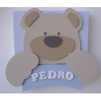 Urso Porta Maternidade Madeira Nome Quadro Bebê Tecido
